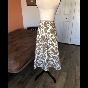 BODEN cream and brown floral patterned skirt